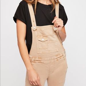 Washed Denim Overalls in Tan color